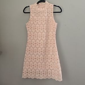 Just me   peach high neck lace dress